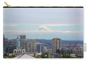 Seattle Skyline With Mt Rainier In Clouds Carry-all Pouch