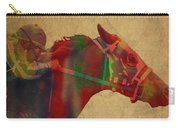 Secretariat Horse Race Watercolor Portrait Carry-all Pouch