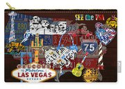 See The Usa Vintage Travel Map Recycled License Plate Art Of American Landmarks Carry-all Pouch