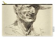 Self Portrait Of Frederic Remington Carry-all Pouch