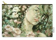 Self Portrait With Aplle Flowers Carry-all Pouch