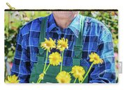 Senior Gardener Showing A Potted Flower. Carry-all Pouch
