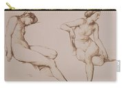 Sepia Drawing Of Nude Woman Carry-all Pouch