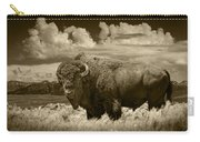 Sepia Toned Photograph Of An American Buffalo Carry-all Pouch