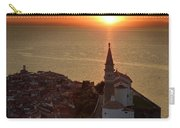 Setting Sun On The Adriatic Sea Behind Archangel Michael On Top  Carry-all Pouch