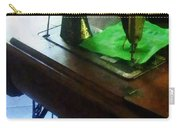 Sewing Machine With Green Cloth Carry-all Pouch