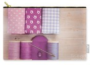 Sewing Threads Needle And Fabrics On A Wooden Box Carry-all Pouch