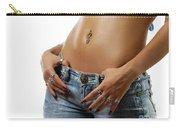Sexy Woman With Pierced Belly In Blue Jeans Carry-all Pouch