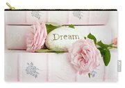 Shabby Chic Cottage Pink Roses On Pink Books - Romantic Inspirational Dream Roses  Carry-all Pouch