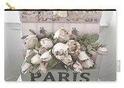 Paris Shabby Chic Pastel Paris Books Roses - Paris Shabby Cottage Watercolor Roses Carry-all Pouch