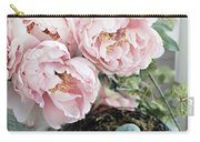 Shabby Chic Peonies With Bird Nest Robins Eggs - Summer Garden Peonies Carry-all Pouch