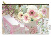 Shabby Chic Pink And Yellow Gerber Daisies Floral Art - Spring Cottage Daisies Floral Art Carry-all Pouch