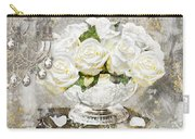Shabby White Roses With Gold Glitter Carry-all Pouch