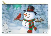 Sharing The Wonder - Christmas Snowman And Birds Carry-all Pouch by Crista Forest