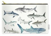Sharks - Landscape Format Carry-all Pouch by Amy Hamilton