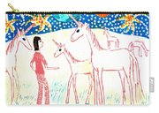She Meets The Moon Unicorns Carry-all Pouch by Sushila Burgess