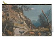 Sheep And Three Peasants Below A Cliff Carry-all Pouch