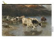Shepherd With Cows On The Lake Shore Carry-all Pouch
