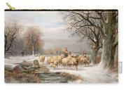 Shepherdess With Her Flock In A Winter Landscape Carry-all Pouch by Alexis de Leeuw