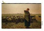 Shepherdess With Her Flock Carry-all Pouch by Jean Francois Millet