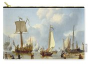 Ships In Calm Water With Figures By The Shore Carry-all Pouch