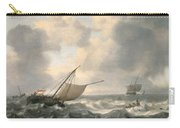 Ships On A Choppy Sea Carry-all Pouch by Hendrik van Anthonissen