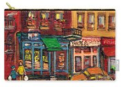 St Viateur Bagel Shop And Mehadrins Kosher Deli Best Original Montreal Jewish Landmark Painting  Carry-all Pouch