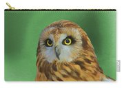 Short Eared Owl On Green Carry-all Pouch
