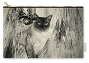 Siamese Cat Posing In Black And White Carry-all Pouch