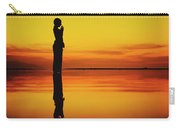 Silhouette Of A Girl Practicing Yoga Reflected On The Surface Of Water During Beautiful Sunset Carry-all Pouch