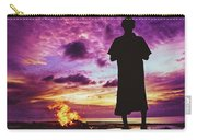Silhouette Of A Local Man Standing By The Bonfire On The Beach In Maldives During Dramatic Sunset Carry-all Pouch