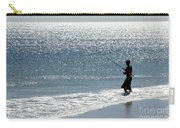 Silhouette Of A Man Fishing Carry-all Pouch