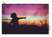 Silhouette Of A Playful Boy Pointing With Finger In The Field During Beautiful Sunset Carry-all Pouch