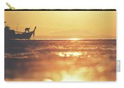 Silhouette Of A Thai Fisherman Wooden Boat Longtail During Beautiful Sunrise Carry-all Pouch