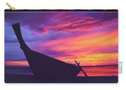 Silhouette Of A Wooden Thai Boat  On The Beach During Beautiful And Dramatic Sunset Carry-all Pouch