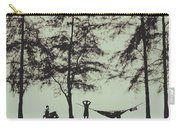 Silhouette Of A Young Men With Crossed Hands Above His Head Camping Hammocking In The Nature Carry-all Pouch