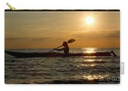 Silhouette Of Woman Kayaking In The Ocean. Carry-all Pouch