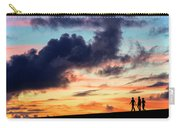 Silhouettes Of Three Girls Walking In The Sunset Carry-all Pouch