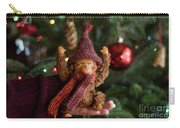 Silly Old Monkey Toy In A Child Hands Under The Christmas Tree Carry-all Pouch