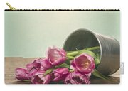 Silver Container With Fresh Tulips Carry-all Pouch