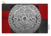 Silver Mayan-aztec Calendar On Black And Red Leather Carry-all Pouch