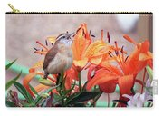 Singing Wren In The Lilies Carry-all Pouch