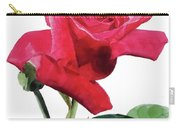 Single Bright Pink Rose Unfolding Carry-all Pouch by Greta Corens