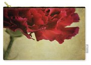 Single Dark Red Carnation In Blue Bottle Carry-all Pouch