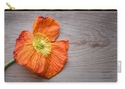 Single Poppy On Wood Carry-all Pouch