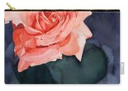 Watercolor Of A Magic Bright Single Red Rose Carry-all Pouch by Greta Corens