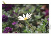 Single White Daisy On Purple Carry-all Pouch