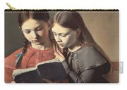 Sisters Reading A Book Carry-all Pouch by Carl Hansen