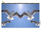 Six Heavenly Backlit Seagulls Flying Overhead In Blue Sky. Carry-all Pouch