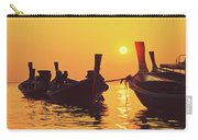 Six Thai Wooden Boats Floating And Glittering In The Lagoon During Golden Sunset Koh  Carry-all Pouch